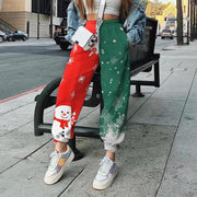 RoseyMacy Women Pants Sweat Pants Patchwork Pants Christmas Pants