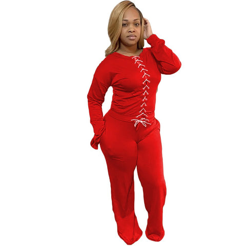 RoseyMacy Women Outfits Two Pieces Outfits Bandage Tops and Sweat pants two Pieces Outfits