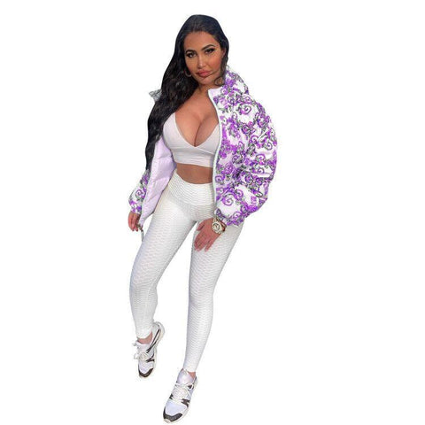 RoseyMacy Women Jacket Winter Jacket Flowers Printing Women Jacket