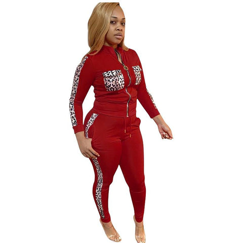 RoseyMacy Women Zipper tops and Sweat Pants Two Pieces Outfits Plus Size Outfits