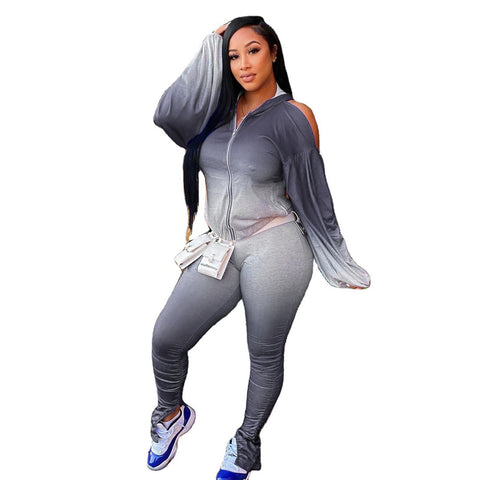 RoseyMacy Women Outfits Gradient Printing Women Outfits Cold Shoulder tops and Sweat Pants Two Pieces Outfits
