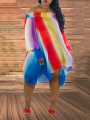 Rainbow Colorful Pleasted Dress