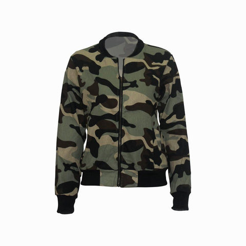 RoseyMacy women Jacket Camo Printing Short Jacket
