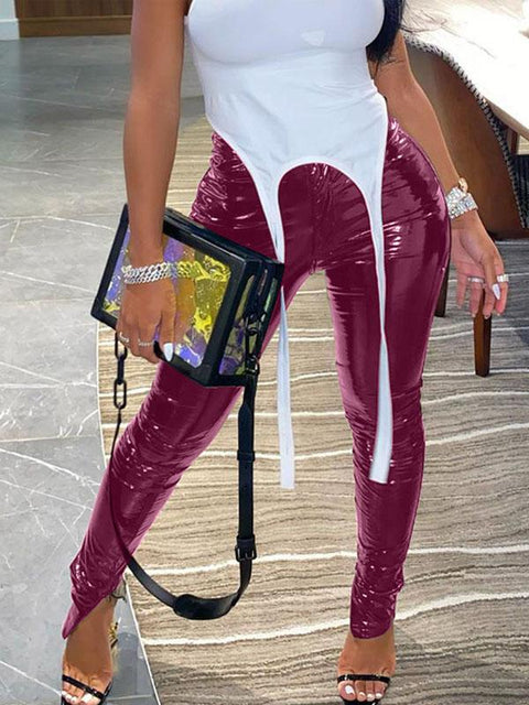 RoseyMacy Women Pants Pu Pants Split Pants Zippers Decorated PU Pants