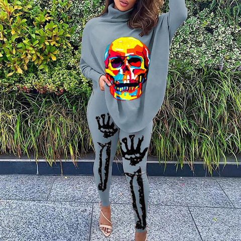 RoseyMacy Women High Neck T-shirts and Sweat Pants Two Pieces outfits Skull Printing Women Outfits