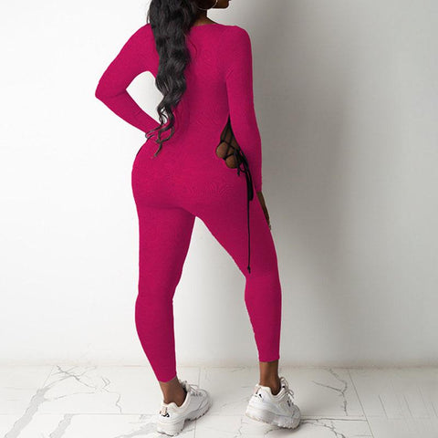 RoseyMacy 2020 Winter Jumpsuit Skinny Bandage and Hollow out jumpsuit