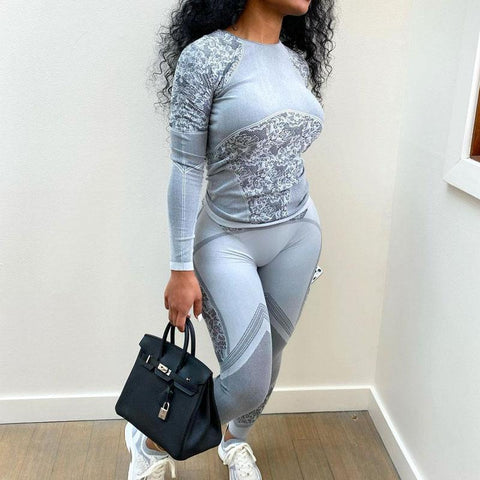 RoseyMacy Women Long Sleeves T-shirts and Sweat Pants two Pieces Outfits