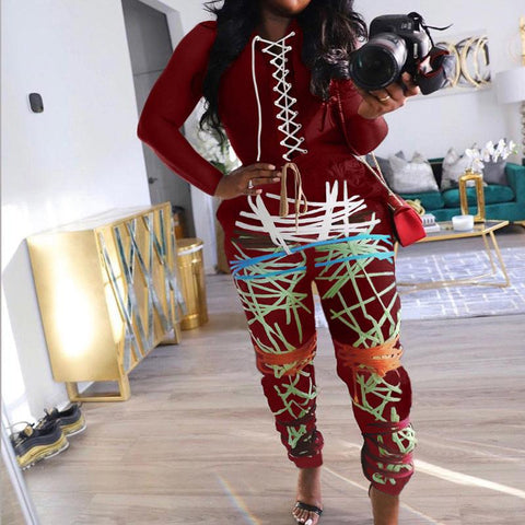 RoseyMacy women Bandage Tops and Printing Pants Two Pieces Outfits