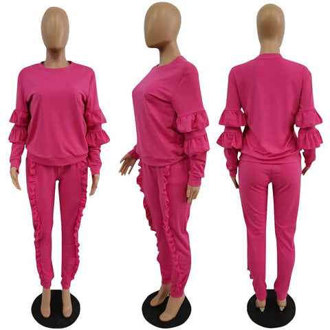 RoseyMacy Women Flounced Tops and Flounced Pants Two Pieces Outfits