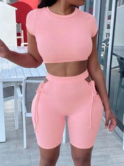 RoseyMacy 2020 Women Crop Tops and shorts two Pieces Outfit Bandage Shorts Set