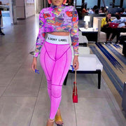 RoseyMacy Women Crop Tops and Patchwork Pants Two Pieces Outfits