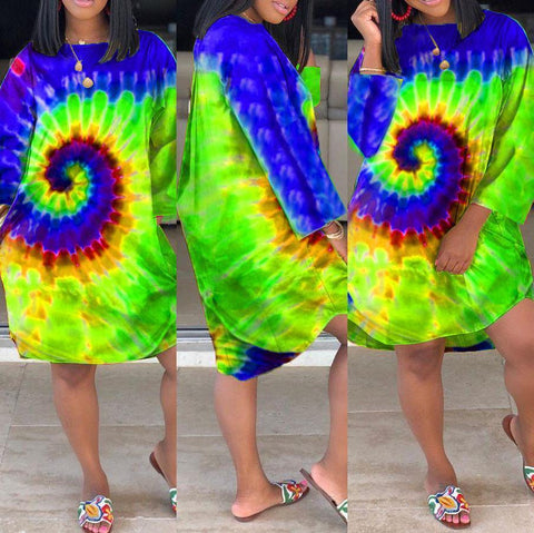 RoseyMacy Multicolor Printing Women Long T-shirt Mini Dress(Flash sale ended.)