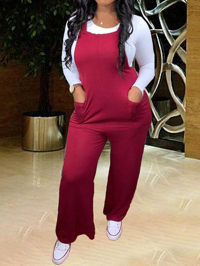 RoseyMacy 2020 Winter Women Jumpsuit and White T-shirts Two Pieces Jumpsuit Set