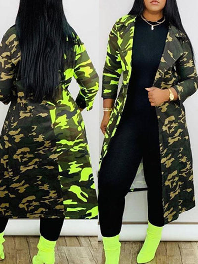 RoseyMacy Women Outerwear Camouflage Printing Women Outerwear Women Cardigan