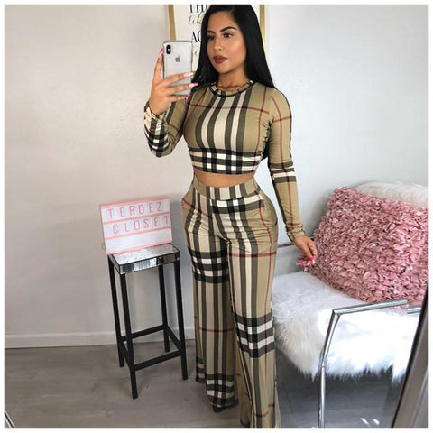 RoseyMacy Plaid Printing Women Crop Tops and Wide Leg Pants Outift