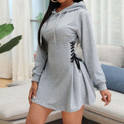 RoseyMacy Women Hoodies Dress Mini Dress Hooded Neckline Women Dress