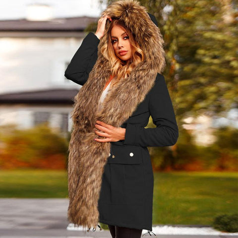 RoseyMacy Women Coat Winter Furry Coat Women Outerwear Winter Jacket