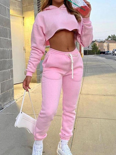 RoseyMacy Crop Tops Short Hoodies and String Pants Two Pieces Women Outfits
