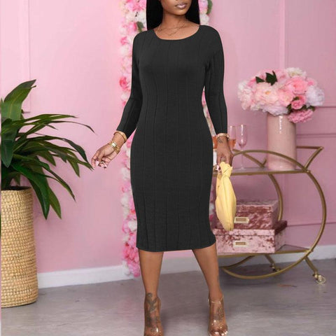 RoseyMacy Women Dress Midi Dress 2020 Autumn Dress Winter Dress