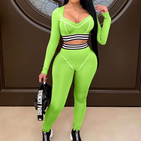 RoseyMacy 2020 Winter Women crop Tops and Sweat Pants Two Pieces Outfits US Women Sweatsuits