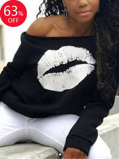 Lips Print Slash Neck Women Tops(Flash sale ended. )