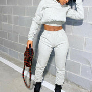 RoseyMacy 2020 Winter Women crop Tops and Bandage Pants Two Pieces Outfits