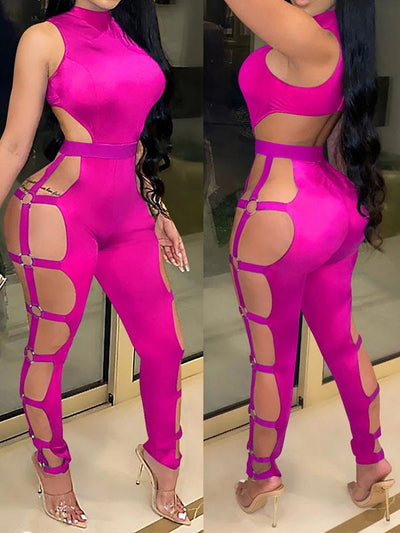 RoseyMacy Women Jumpsuit Sexy Jumpsuit Hollow Out Night Club Jumpsuit