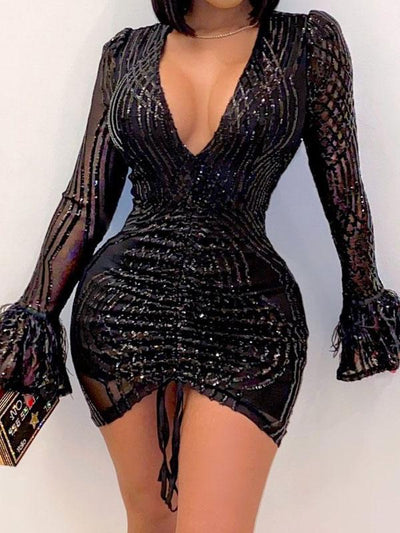 RoseyMacy Women Dress Sexy Night club Dress Party Dress Sequined Mini Dress