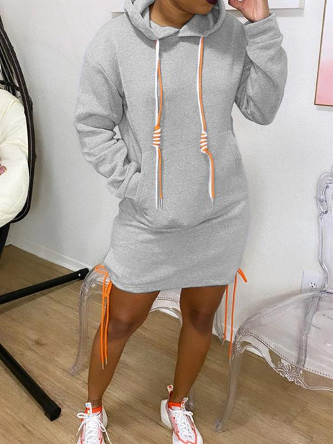 RoseyMacy 2020 Autumn Women Hoodie Long Sleeves Hoodie Dress Mini Dress