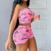 RoseyMacy Butterfly Printing Crop Tops and shorts Two Pieces Shorts Set Outfit