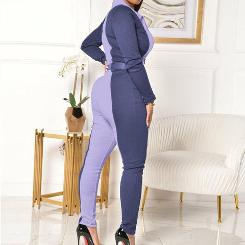RoseyMacy Womeon Jumpsuit Patchwork Jumpsuit Skinny Jumpsuit