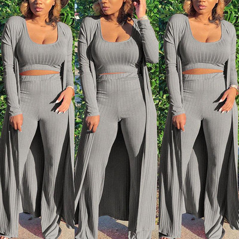 RoseyMacy 2020 Women Tank Tops and Wide Leg Pants and Women Cardigan Women Outerwear Three Pieces Outfit