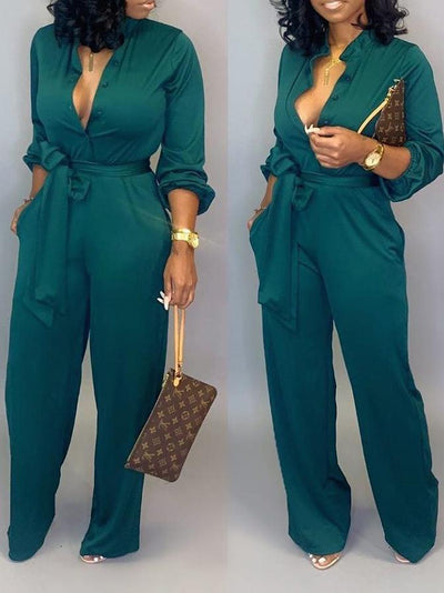 RoseyMacy Solid V-neck Formal Jumpsuit