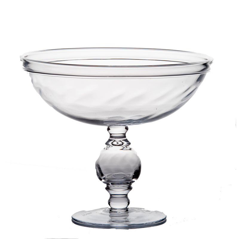 164018 Abigails Wholesale Home Décor Glassware Comptoes and Bowls Classic Glass Compote Optic Design Classic