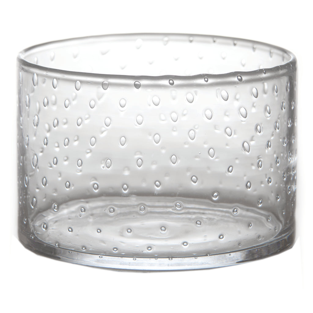 Classic Glass Salad Bowl, Seeded Glass, Tall
