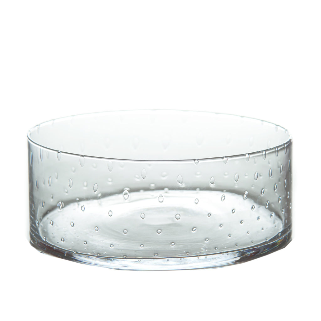 164021 Abigails Wholesale Tabletop Glassware Compotes and Bowls Classic Glass Salad Bowl Seeded Glass Short