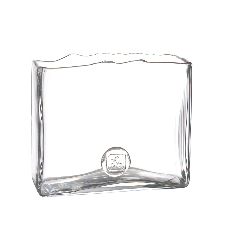 164559 Abigails Wholesale Home Décor Glassware Vases Medallion Square Vase Clear Medallion