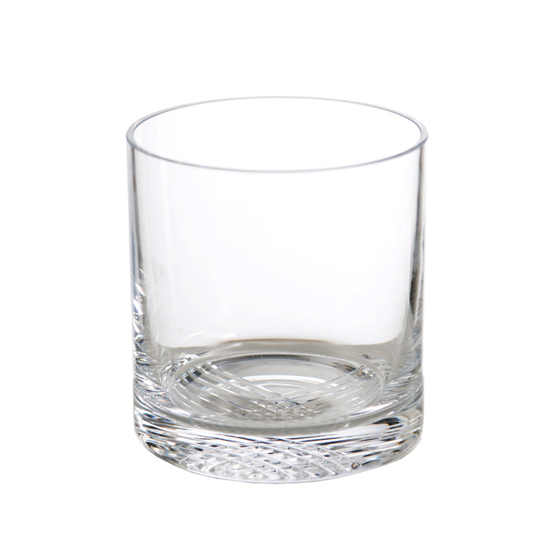 New Orleans Double Old Fashioned, clear with criss-cross design, Set of 4