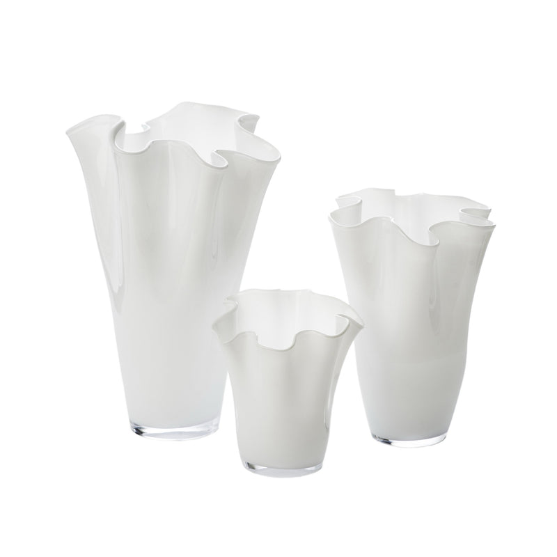 164574 Abigails Wholesale Home Décor Glassware Vases White Ruffle Vase, Medium