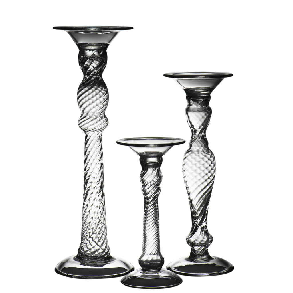 164579 Abigails Wholesale Home Décor Glassware Candlestick & Votives Stella Candlestick, Small Stella