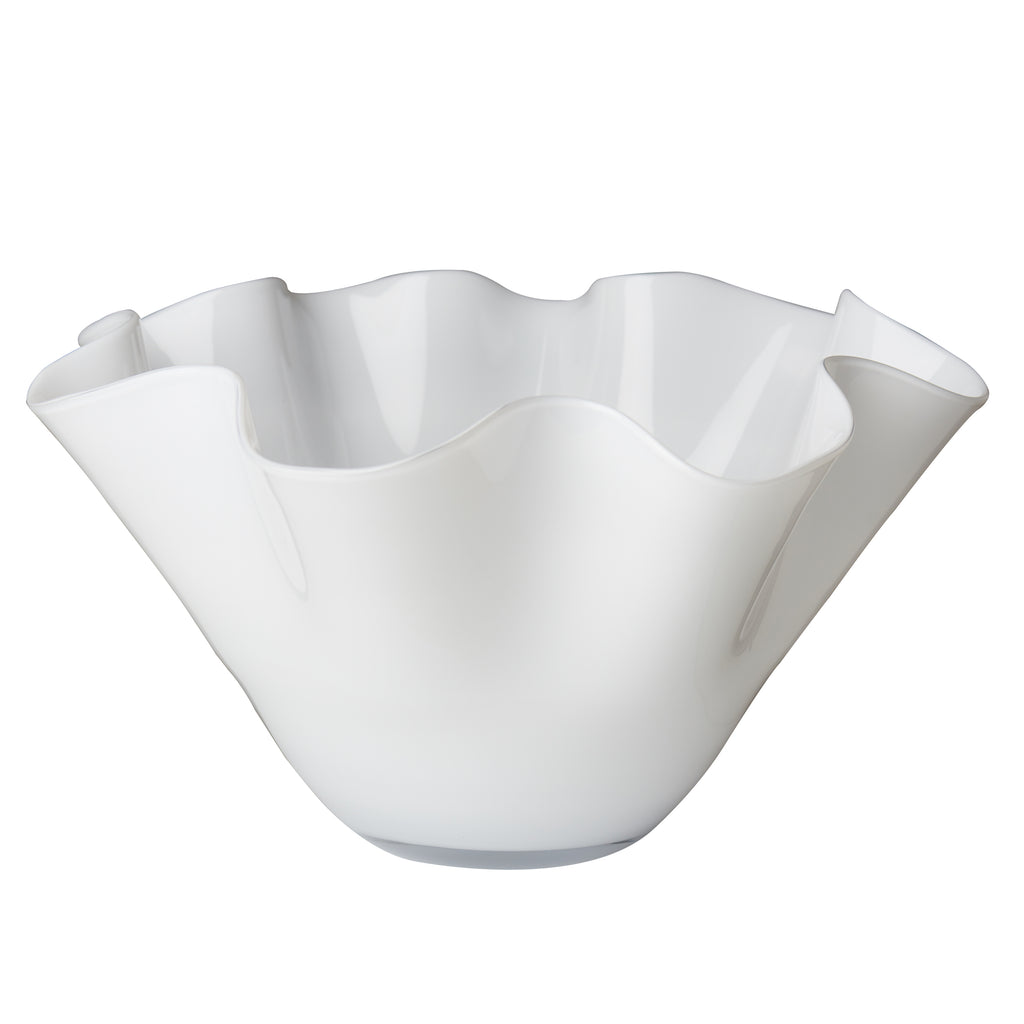 Large White Bowl with Wavy Top