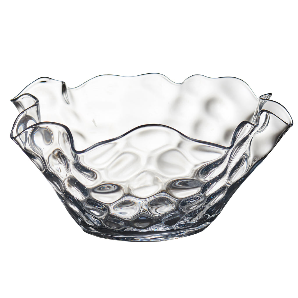 Large Clear Dimpled Bowl with Wavy Top