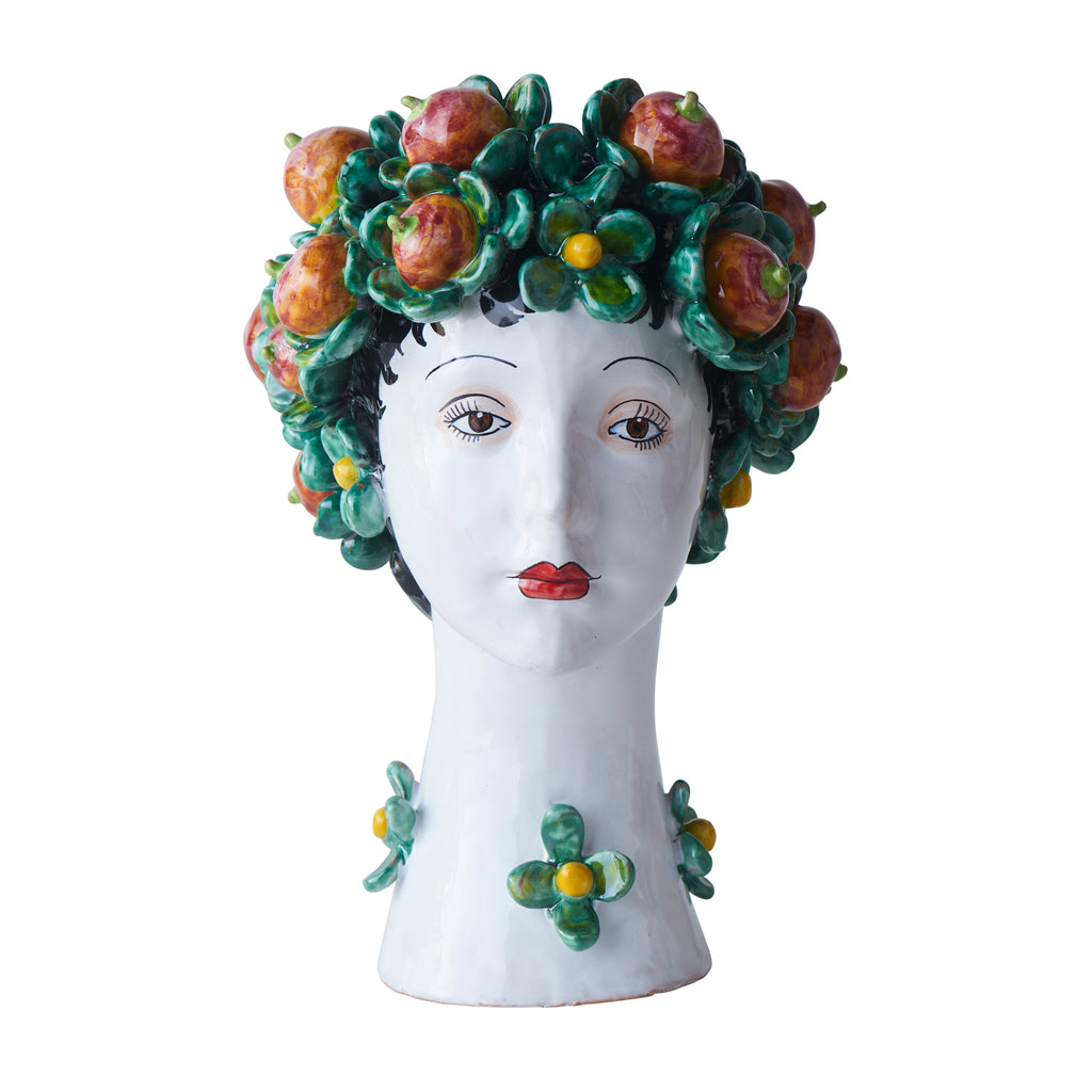 Ceramic Head Vase, Persimmon Decor