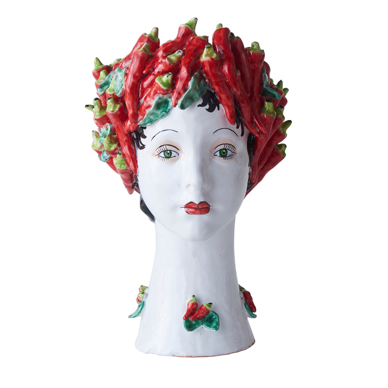 Ceramic Head Vase, Peppers Decor