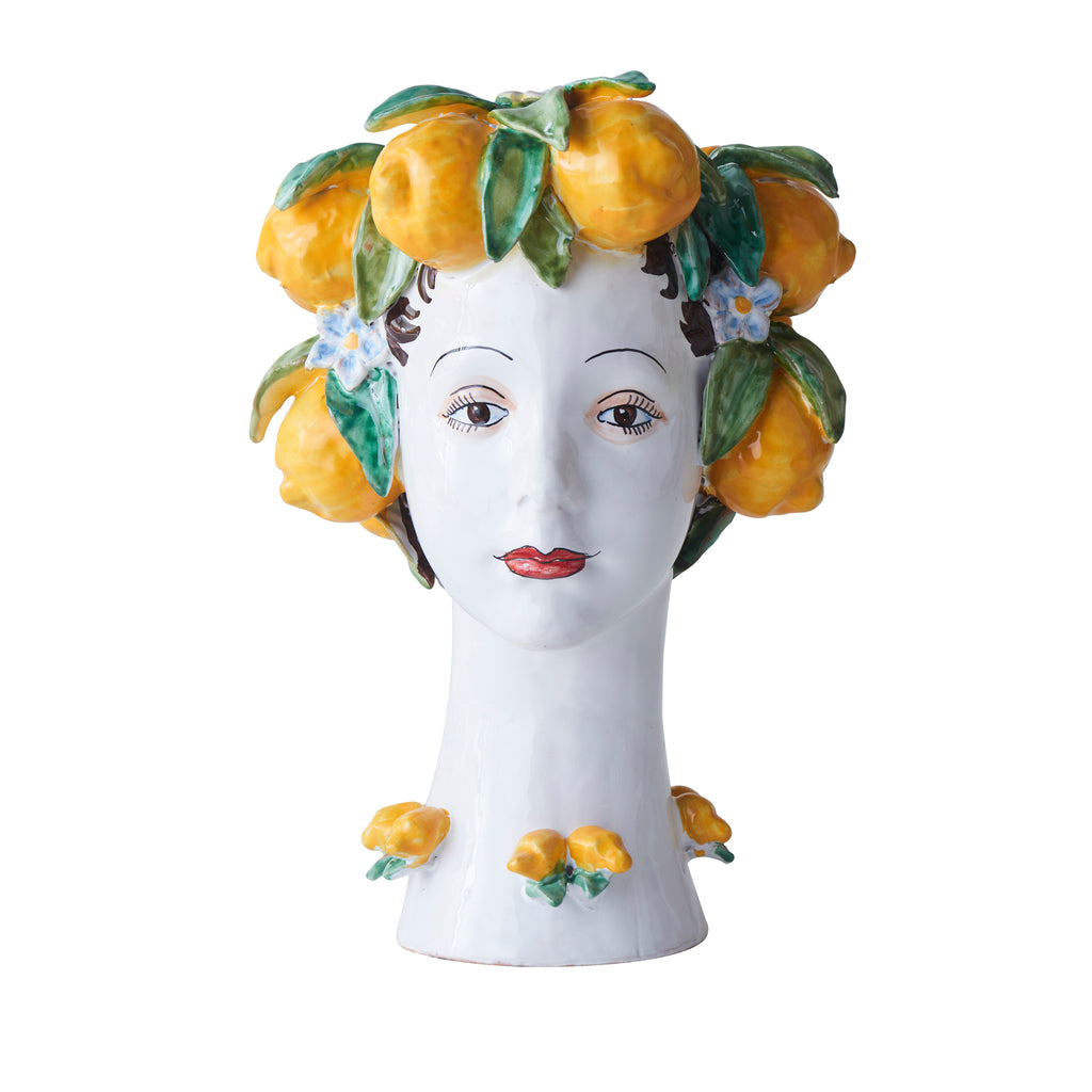 Ceramic Head Vase, Lemon Decor
