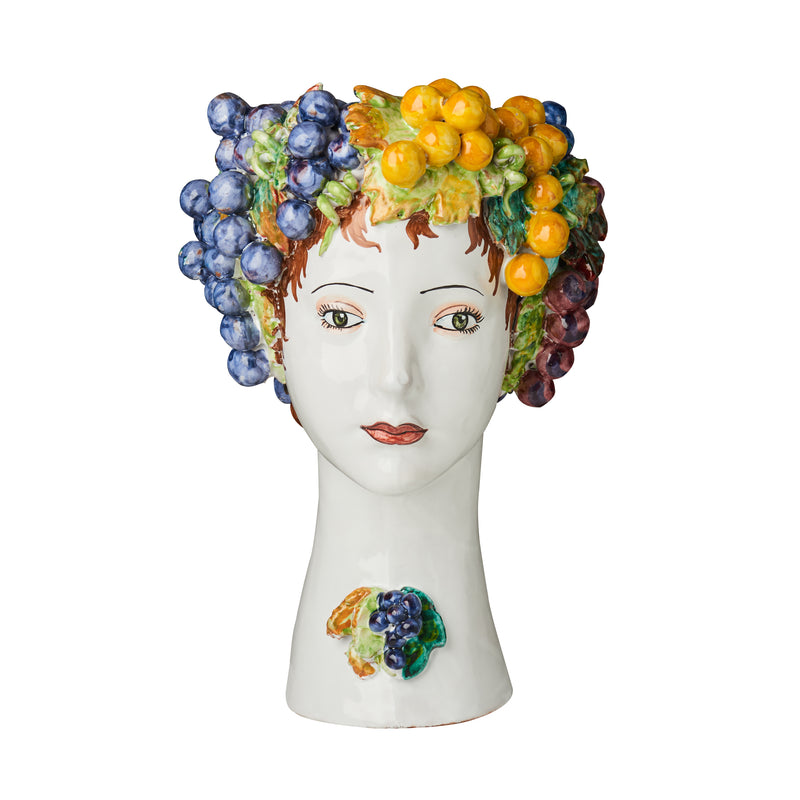 Ceramic Head Vase, Grape Decor