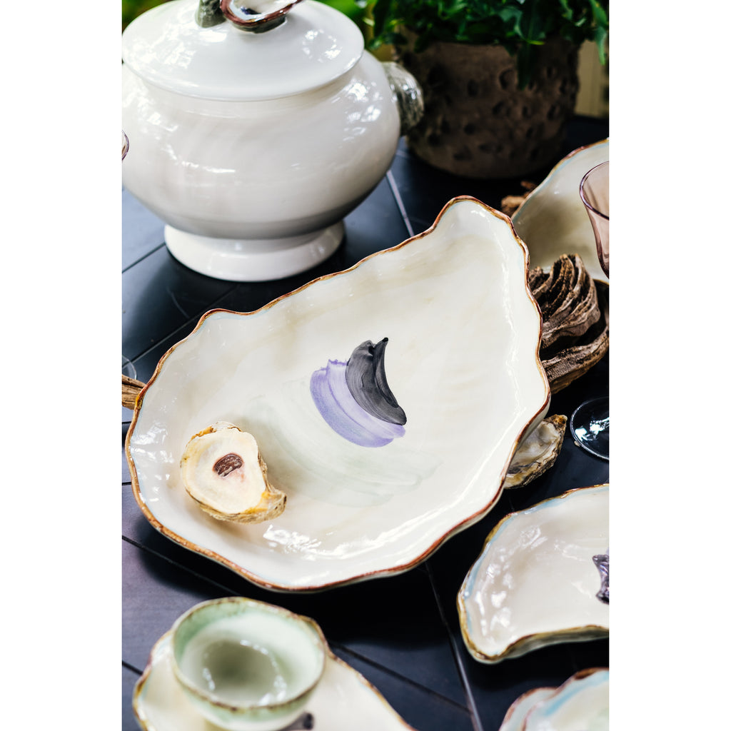 Seaside Oyster Plate, Large, Set of 2