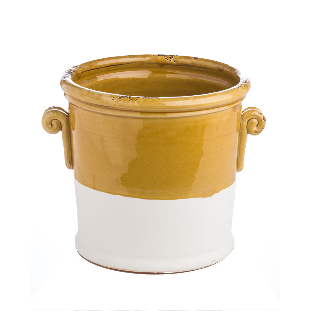 Honey and Matte White Ceramic Cachepot