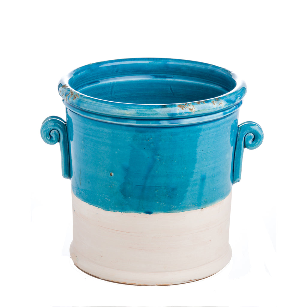 Turquoise and Matte White Ceramic Cachepot