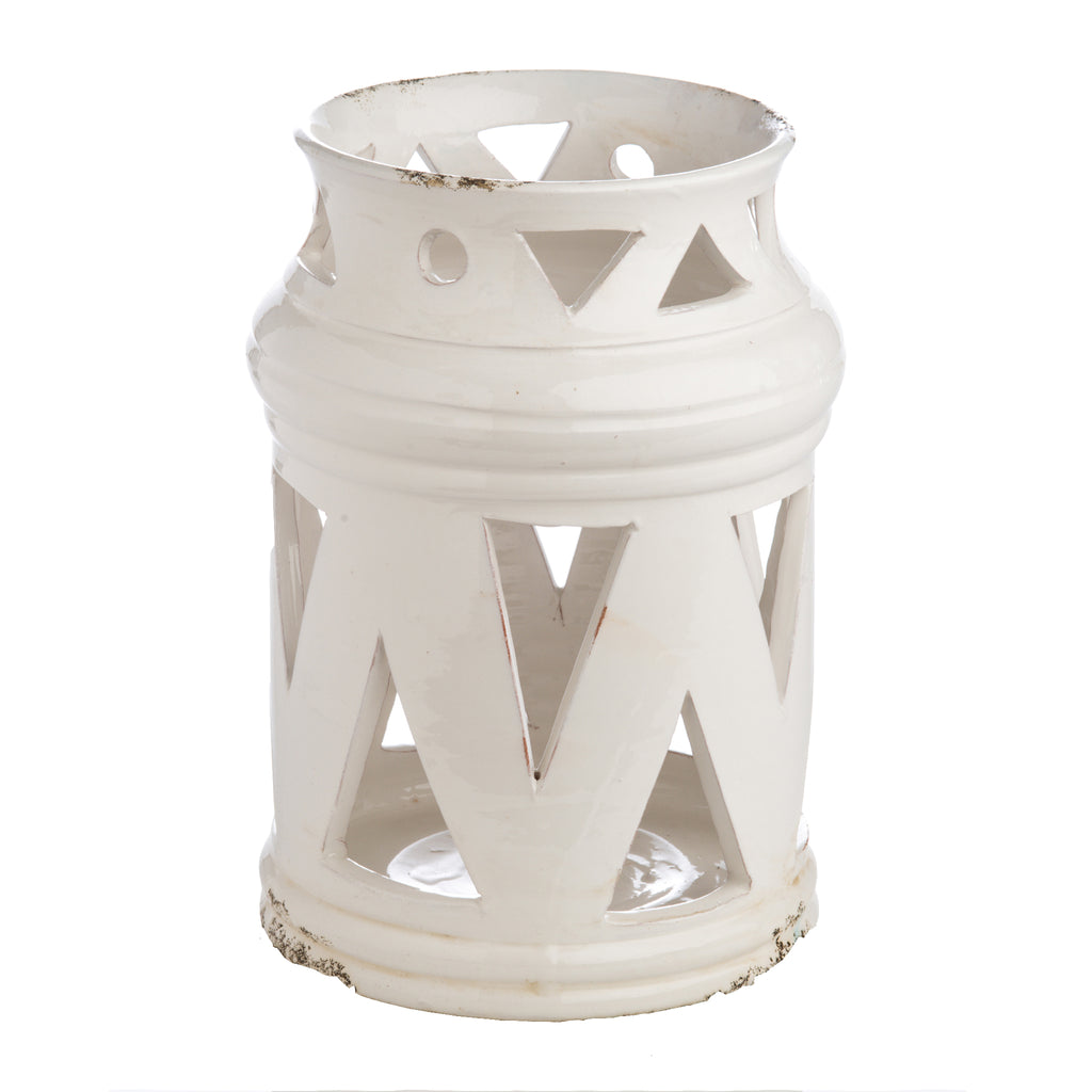 250320 Abigails Wholesale Home Décor Decorative Accessories Acessories White Ceramic Lantern with Cutouts Puglia